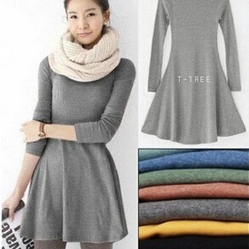 Fashion Clothes Women Dress 2015 Autumn Winter Dress Female 100% Cotton O-neck Long Sleeve Dress Woolen Dresses