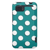 Teal Large Polka Dots Pattern HTC Vivid / Raider 4G Case from Zazzle.com