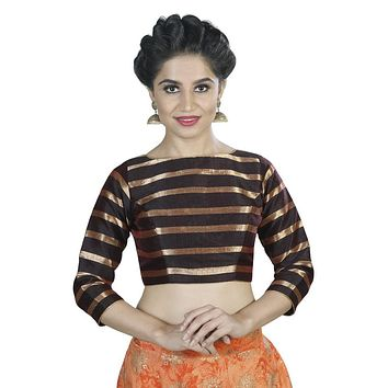 Designer Indian Traditional Brown Striped Padded  Long Sleeves Saree Blouse Choli (X-563)