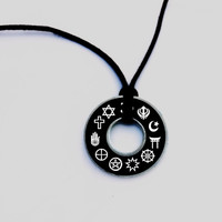 Coexist Resin Coated Washer Necklace Asatru Wicca Pagan