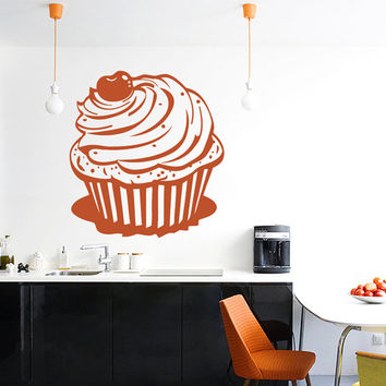 Cupcake With A Cherry Vinyl Decals Wall Sticker Art Design Kitchen Cafe Room Nice Picture Home Decor Hall Interior ki651