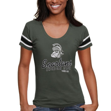 Michigan State Spartans '47 Brand Women's Off Campus Football T-Shirt – Green