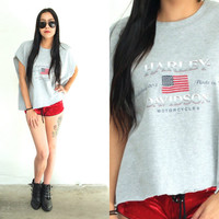 Vintage 90s HARLEY DAVIDSON Light Grey Cut Muscle Tank Tee // Biker Hipster Boho // XS Extra Small / Small / Medium / Large