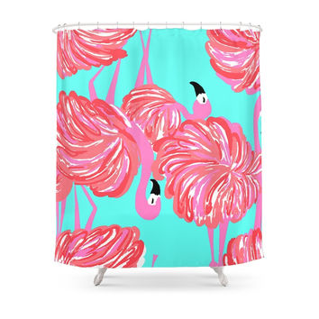 Society6 Pink Flamingo Shower Curtains