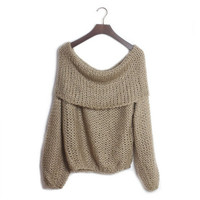 Aliexpress.com : Buy Free shipping 2013 Strapless handmade Slash collar loose long coarse knitting pullover sexy sweater XCD2081 815 33 from Reliable sweater heart suppliers on eFoxcity Wholesale