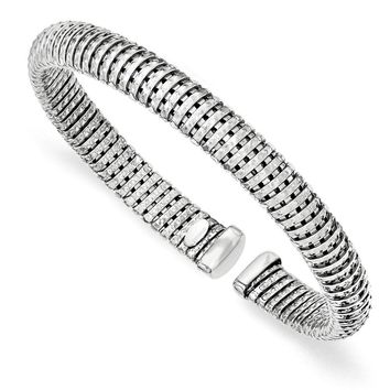 Sterling Silver Polished Rhodium-plated Textured Twist Cuff Bracelet