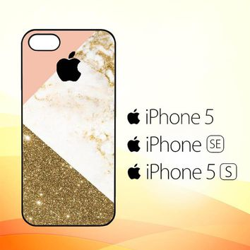 Pink and Gold Marble apple logo Z4824  iPhone 5|5S|SE Case