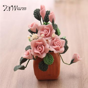 KiWarm Mini Beautiful 1:12 Dollhouse Miniature Clay Flower Pot Model Handcrafted Home Room Garden Decor Ornament