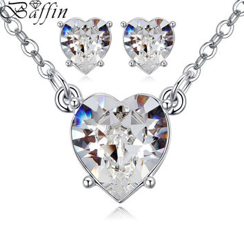 2017 Original Crystals From SWAROVSKI Antique Heart Pendant Necklaces Piercing Earrings Jewelry Sets For Girls Women's Day
