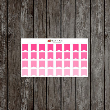 054 Pink Quarter Flags / Erin Condren Life Planner Stickers / Set of 32