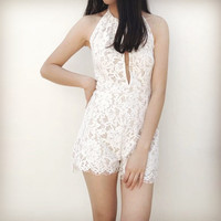 Summer Sexy Lace Hollow Out Backless Romper [11612164943]