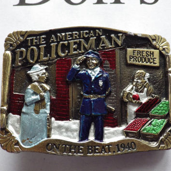1986 The American Policeman Buckle Great American Buckle Co. Vintage Police