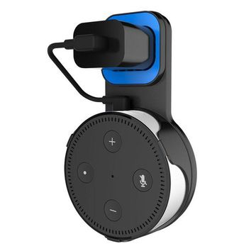 ONETOW Sciencetop Echo Dot Wall Mount - Outlet Wall Mount Stand Holder with Short Charging Cord for Echo Dot 2nd Generation to Plug in Vertical or Horizontal Outlet Secure, No Messy Wires or Screws - Black