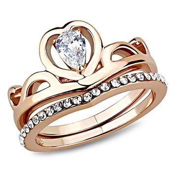 WildKlass Stainless Steel Ring IP Rose Gold(Ion Plating) Women AAA Grade CZ Clear