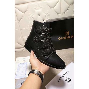 GlVENCHY 2018 autumn and winter flat low heel ankle boots front with rivets female boots F-XIMIN-WMNX black