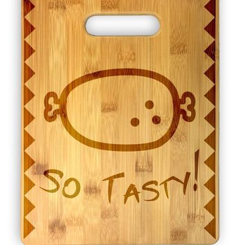 So Tasty Meat! Cute Funny Laser Engraved Bamboo Cutting Board - Video Game, Iconic, Wedding, Housewarming, Anniversary, Birthday, Gift (Vertical)