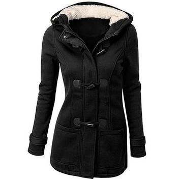 Women's Winter Classic Style Flocked Hooded Toggle Duffle Coat Thick Warm Cotton Long Sleeve Front Pockets Jacket Outerwear