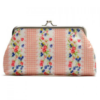 Sweet Floral Print and Kiss Lock Design Women's Clutch Wallet