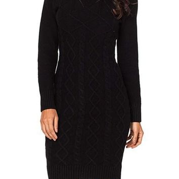 Chic Black Long Sleeve Cable Knit High Neck Sweater Dress