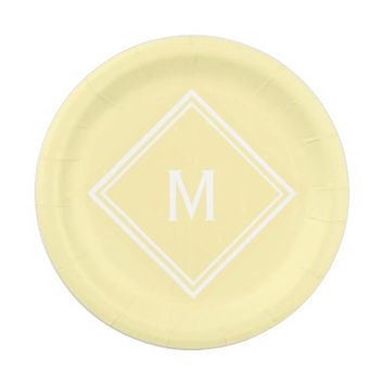 Modern Stylish Sunny Yellow Custom Monogram Paper Plate