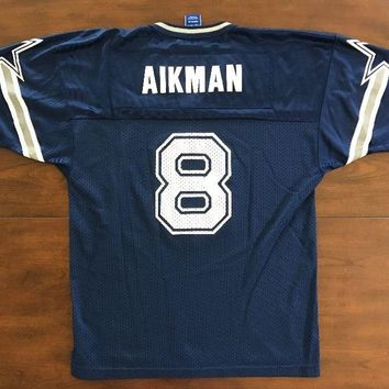 Kids DALLAS COWBOYS Vintage 90'S TROY AIKMAN 8 NFL JERSEY youth XL Champion