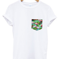 Blue flamingo print pocket white t shirt