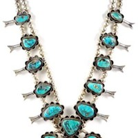 Native American Sterling Silver Turquoise w/ Pyrite Squash Blossom Necklace 254g