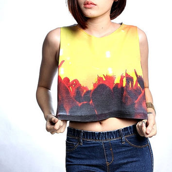 Rock Concert Crop Top Shirt Cropped Tank Size S M L