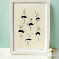 $30.00 The Ballet of Mustache  Print by ilovedoodle on Etsy