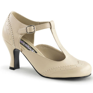 Funtasma Cream T-strap Kitten Heels