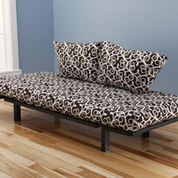 Hennepin Contemporary Daybed Futon Lounger with Black Metal Steel Frame, Includes Two Pillows, Entangled