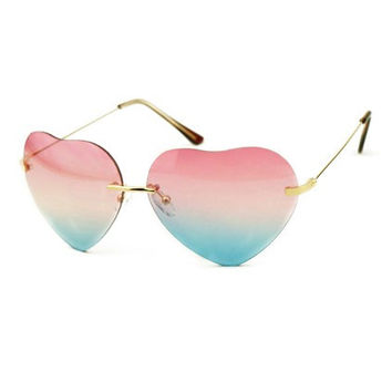 Edgy Multicolor Heart-Shaped Sunglasses
