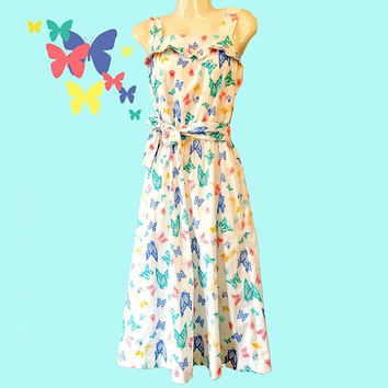 Vintage Butterfly Sun Dress white with pastel by OldSewlVintage