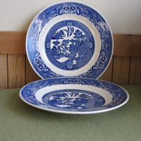 Royal China Blue Willow Plates Set of Two (2) Dinner Plates Royal Ironstone Willow Ware Made in the USA
