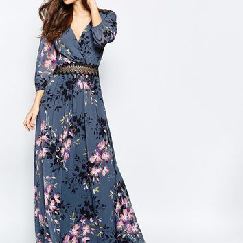 Little Mistress Floral Print and Lace Maxi Dress