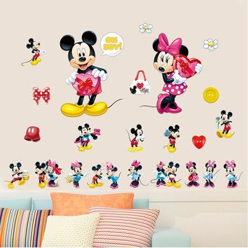 Minnie Mickey mouse wall art decals kids gift home decorative stickers diy cartoon animal  nursery boys bedroom stickers