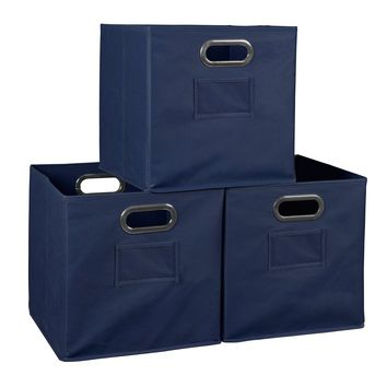 Niche Cubo Set of 3 Foldable Fabric Storage Bins- Blue