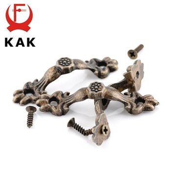 KAK 10pcs Box Handle 43*10MM Zinc Alloy Knob Tracery Bronze Tone Antique Pulls For Drawer Wooden Jewelry Box Furniture Hardware