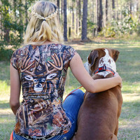 Sporty Girls Womens camo is now stylish , cute ,fitted and sexy you can be dressed to kill in this ladies camo shirt