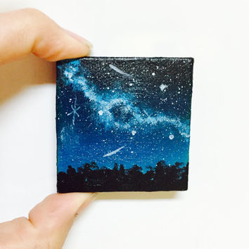 Night Sky Painting, Miniature Canvas, Shooting Stars, Nebula, Constellations, Galaxy, Home Decor, Small Gift, Wall Hanging, Original Art