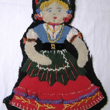 Vintage Wool Felt and Fabric and Embroidered Costumed Flat Doll Applique - Circa 1940s