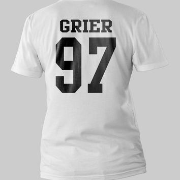 Nash Grier 97 Date of Birth Printed Back Men or Women Shirt Unisex Size  Black and White T-Shirt