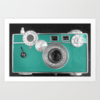 Teal retro vintage phone Art Print by Wood-n-Images