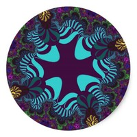 Colorful Nature Cross Large Round Stickers