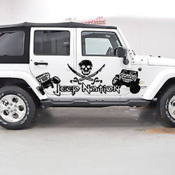 Jeep Nation Pirate Flag Rodger Wrangler Rubicon Car vinyl graphics off-road j015