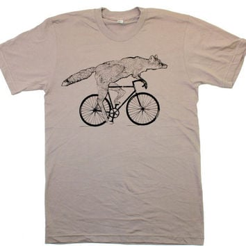 Mens ORGANIC cotton BICYCLE FOX TShirt by darkcycleclothing