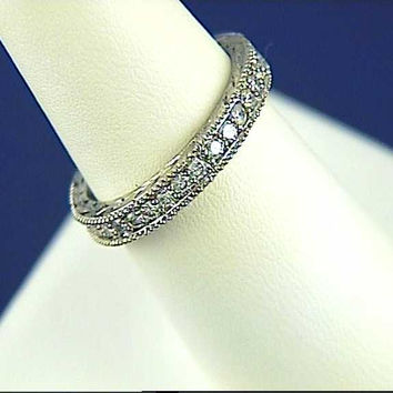Platinum Diamond Wedding Band 1.02ct Round Diamonds Eternity Ring Vintage style