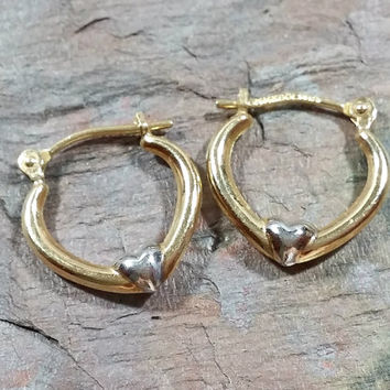 14k Gold Hoop Earrings Yellow Gold White Gold Hearts Leverback Creole Earrings Solid Gold Not GF Fun Sweet Gift for Her Sweetheart Gift