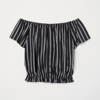 Short Jersey Top - Black/white striped - Ladies | H&M US