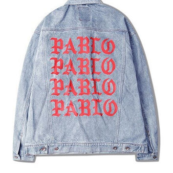 I Feel Like Pablo Denim Jacket TLOP Denim Jacket Kanye West Pablo Denim Jacket Kanye West LA Pop Up Shop Yeezus Tour Yeezus Merch Yeezy